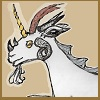 """capri0mni: A hand drawn image of an """"omnicorn"""" (all horns):  a goat's head with six different kinds of horns (CapriOmni)"""