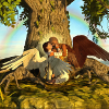 wallace_trust: Two angels hugging under a tree of life (Hugs, Angels)
