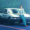 anaraine: Fujiwara Takumi, leaning against the hood of his AE86. ([initial d] a boy and his car)