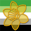 grzanka: A graphic with the aromantic flag as the background and a yellow daffodil in the center (Daffodil filled)