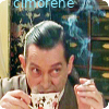 cimorene: closeup of Jeremy Brett as Holmes raising his eyebrows from behind a cup of steaming tea (eyebrows)
