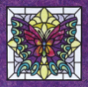 edenfalling: stained-glass butterfly in a purple frame (butterfly)