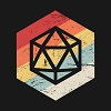darchildre: the outline of a 20-sided die over a faded rainbow on a black background (d&d time!)