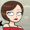 jayeless: a cartoon close-up of a woman, with short brown hair, lipstick, and a red top (Default)