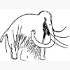dragonlady7: line drawing of a paleolithic engraving of woolly mammoth (mammoth)