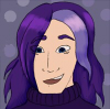 wolffyluna: A purple haired person with an alarmed smile (amenta)