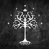 anghraine: the symbol of gondor: a white tree on a black field with seven stones and a crown (gondor)