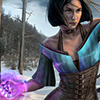 anghraine: a woman with short black hair (gwen thackeray from guild wars 2) casts a spell with pink/purple light (gwen)
