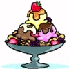 edenfalling: colored line-art drawing of a three-scoop ice cream sundae (ice cream sundae)