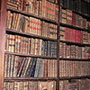 anghraine: various thickly-bound books on the shelves of a library (library)