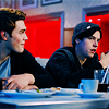 devilbear: Jughead and Archie (Riverdale) sit at a booth in Pop's Choc'Lit Shoppe. Archie is watching Jug with a smile while they talk. (Doctor Who: Ten - Timey Wimey)