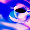 tai: Coffee in a cup with a blue-purple hue suffusing the icon. Peace, coolness and relaxed comfort. (coffee)