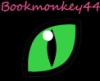 bookmonkey44: Username in pink above a green cat eye on black background (Default)