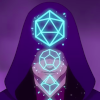 schneefink: from the CR animated intro: hooded DM figure with glowing dice in front of them (CR DM)