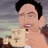a_flyleaf: Screenshot of an animated man holding a mug, which has been edited to have his face and hand repeated on the mug. The mug is also holding a smaller mug with the same face edit. (Default)