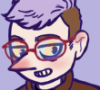 earth_to_kit: A cartoony self-portrait featuring a white person with a pointy nose, glasses and lavender hair (Default)
