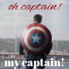 opensummer: Image of Steve Rogers as Captain America with the shield on his backing facing away. The text oh captain! my captain! Runs along the top and bottom thirds (oh captain my captain)