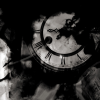 midnight_mods: A black and white photo of clock face partially obscured by artistically added shadows. (Default)