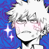 strollinginskies: A picture of a blushing beaten-up Bakugou on a background of blue roses with sparkles (Default)