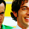sloth: from the television show chuck, casey creepily leering at an oblivously beaming chuck (stalker!!)