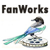 "fanworkscon: Text reading ""FanWorks"" over an image of a magpie perched on top of a film reel. (fanworks - film reel)"