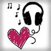 talibusorabat: A sketch of a heart attached to headphones with music notes (Music: Headphone hearts)