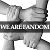 "lokifan: Four hands holding each other's wrists to strengthen each other, text ""we are fandom"" (Fandom: unity)"