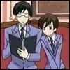 euangelias: Haruhi looking over Kyoya's shoulder (Apprentice)