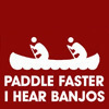"morgi: A road-sign style image of two men in a canoe, captioned ""Paddle faster, I hear banjos."" (banjos)"
