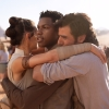 lj_writes: Picture of Finn, Rey, and Poe hugging. Or maybe it's the actors but they're in costume so. (trio_hug)