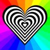 triadruid: Zebra-striped heart surrounded by rainbow-colored rays (eds, ehler-danlos, zebra)