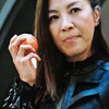 yhlee: Mirror Georgiou from Star Trek: Discovery, eating an apple (ST:D Mirror Georgiou apple)