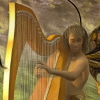 wallace_trust: Bandi the Harpist plays outdoors (Bandi the Harpist, elves)