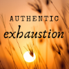nerakrose: tall golden grass blurry against a golden sunset. text: authentic exhaustion (authentic exhaustion)