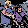 violsva: Clint Barton and Kate Bishop shooting together, covered in bandages, from the end of Matt Fraction's Hawkeye (hawkeyes)