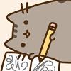 violsva: A cartoon of a grey cat happily scribbling in a book (writing cat)