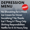 nerakrose: depression menu against a fading grey background. the menu items are common symptoms of depression. there's a red sticker on the menu that says FREE! (depression menu)