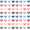 nerakrose: differently coloured hearts in rows on a white background (hearts)