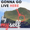 nerakrose: photo of a lone house on a small island, with the text 'gonna go live here' with an arrow pointing from here to the house. at the bottom of the image is the text 'by myself'. (gonna go live on an island by myself)