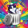 sabotabby: two lisa frank style kittens with a zizek quote (trash can of ideology)