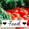 nerakrose: image of tomatoes and green stuff, with a white banner and the text ❤ food ❤. (food)