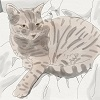 ironed_orchid: watercolour and pen style sketch of a brown tabby cat curl up with her head looking up at the viewer and her front paw stretched out on the left (Default)