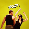 "triggerhappy: Teal'c and Vala from SG1 bumping hips, text ""woot!""  (sg1 teal'c vala woot - winterfish)"