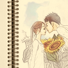 corinn: partly-colored sketch of a couple about to kiss in front of sunflowers (love coloring the world)