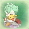 naye: ahiru in her duck form getting a hug (duckhug)