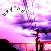 "naye: a very purple photo of a cloudy sky with the word ""beyond"" (beyond)"