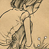 ursamajor: girl crouching by flowers (those golden kisses all over the cheeks)