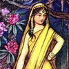 lavendertook: children's illus-style woman in yellow sari (hmmph!)