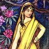 lavendertook: children's illus-style woman in yellow sari (huh, hmmph!)
