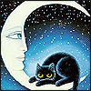 lavendertook: black kitty sitting in crescent moon (anxious)